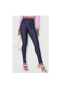 Calça Jeans Lunender Skinny Amarração Azul-Marinho