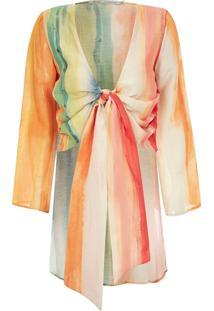 Blusa Kika Simonsen Amarração Mullet Estampada Multicolorida
