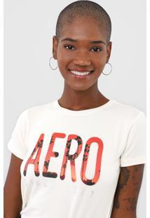 Camiseta Aeropostale Lettering Off-White - Kanui