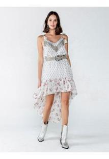 Vestido Mullet De Chiffon Estampa Mix Flower Com B - Feminino