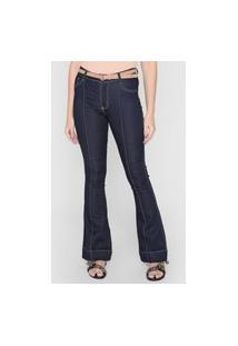 Calça Jeans Forever 21 Flare Pespontos Azul-Marinho