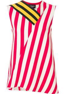 Calvin Klein 205W39Nyc Blusa Listrada Assimétrica - Branco