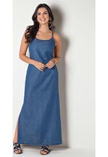 Vestido Longo Com Fenda Na Lateral Jeans Azul