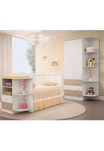 Quarto Para Bebê Doce Sonho - Berço Cantoneira E Guarda Roupa - Arezzo / Fendi