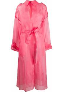 Dolce & Gabbana Casaco Translúcido Com Amarração - Rosa