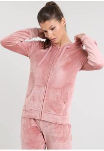 Blusão Feminino Esportivo Ace Em Plush Com Capuz Rosê