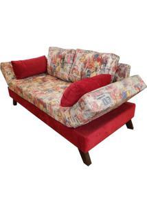 Sofa Cama Trips Com 2 Lugares Assento Estampado Base Madeira Cor Castanho - 30812 Sun House