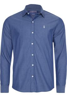 Camisa Masculina Chambray Colmeia - Azul