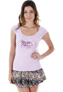 Camiseta Com Paetês Feminina Tigs - Lilas