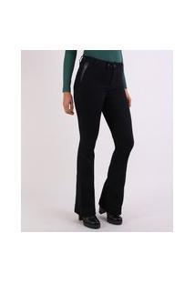 Calça Jeans Feminina Sawary Flare Com Recortes Cintura Alta Preta