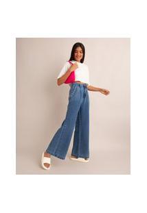 Calça Wide Pantalona Jeans Com Pregas Cintura Super Alta Azul Escuro
