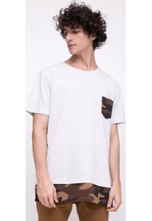 Camiseta Alongada Com Estampa Camuflada