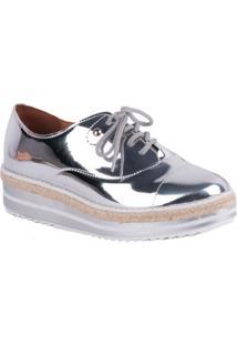 Sapato Vizzano Oxford Flatform Dourado/Branco/Dourado - Feminino-Prata