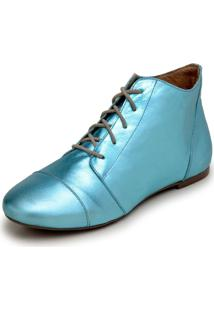Bota Feminina Casual Confort Cano Curto Ankle Boot Cavalaria Metalizada - Azul - Feminino - Couro LegãTimo - Dafiti