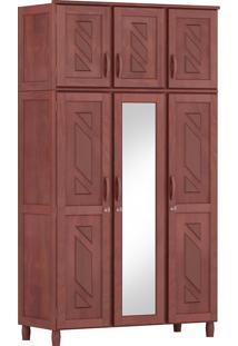 Guarda-Roupa Grécia Solteiro Mogno Fosco Com Espelho 6 Portas 3 Gavetas E Maleiro Madeira Maciça De Pinus Cavazotto