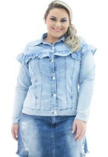 Jaqueta Confidencial Extra Jeans Com Babado Plus Size Feminina - Feminino-Marinho