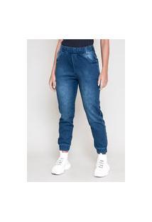 Calça Jeans Dialogo Jogging Cropped Com Elástico