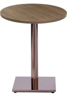 Mesa Colorado 80 Cm Tampo Redondo Imbuia Base Bronze - 37282 Sun House