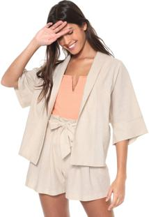 Kimono Chata De Galocha Para Dafiti Recortes Off-White