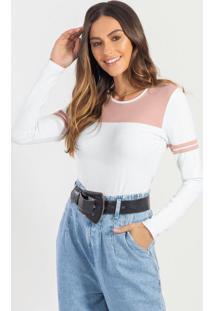 Blusa Manga Longa Em Cotton Branco