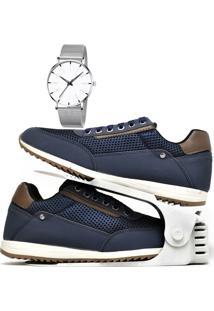 Kit Sapatênis Sapato Casual Com Organizador E Relógio Clean Dubuy 1100Db Azul - Kanui