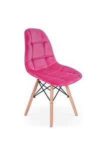 Cadeira Eiffel Botonê Estofada Veludo Base Madeira - Rosa