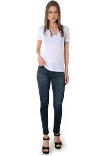 Calça Jeans Opera Rock Leg Max Feminnina - Feminino-Azul