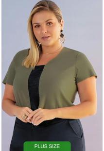 Blusa Com Decote V E Manga Curta Verde