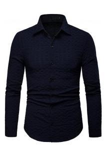 Camisa Masculina Elegante Manga Longa - Azul Escuro