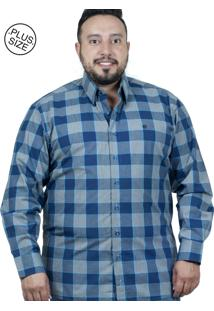 Camisa Plus Size Bigshirts Manga Longa Xadrez - Azul/Cinza