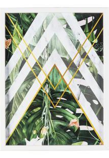 Quadro Decorativo Folhagens- Verde & Branco- 40X30X3Art Frame