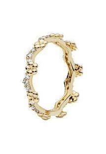 Anel Shine Tiara De Flores- Dourado- Tamanho 46 = 4 Pandora