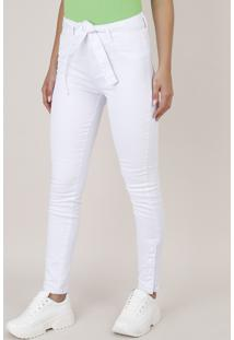 Calça De Sarja Feminina Sawary Skinny Com Botões E Cinto Branca