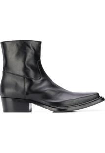 Acne Studios Ankle Boot Bico Quadrado - Preto