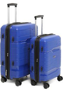 Conjunto De Malas De Viagem Yins Brasil 2 Unidades - Masculino-Azul