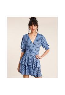 Vestido Feminino Mindset Curto Transpassado Estampado De Poá Em Camadas Manga Bufante Azul
