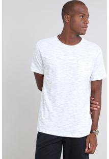 Camiseta Masculina Em Piquet Flamê Com Bolso Manga Curta Branca