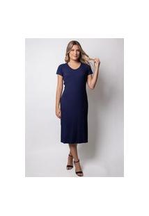 Vestido Pau A Pique Longuete Canelado Azul Marinho