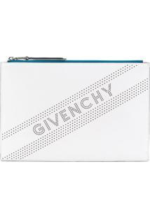 Givenchy Bolsa Clutch Com Estampa De Logo - Branco