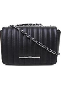 Bolsa Santa Lolla Mini Bag Alça Corrente Matellassê Feminina - Feminino-Preto