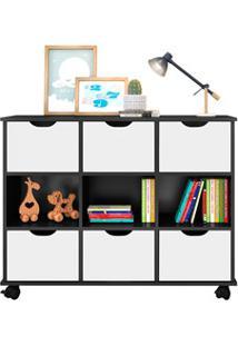 Nicho Organizador Com Rodízios Toys 6 Gavetas Q01 Preto/Branco - Mpoze