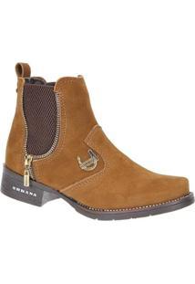 Bota Couro Urbana Boots Feminina - Feminino-Caramelo