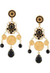 Dolce & Gabbana Par De Brincos Com Aplicação De Strass - Dourado