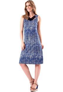 Vestido Pau A Pique Listrado Azul Marinho
