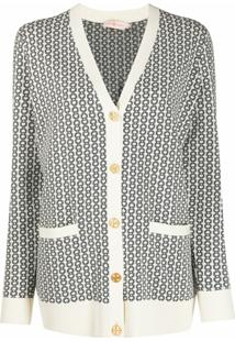 Tory Burch Cardigan Com Corrente E Estampa - Neutro