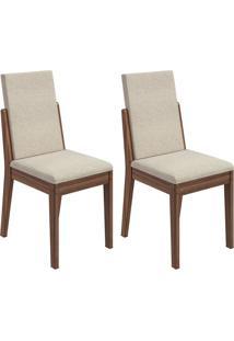 Conjunto De Cadeiras De Jantar 2 Lira Linho Imbuia E Creme