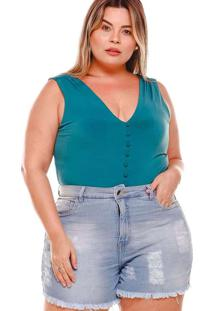 Shorts Desfiado Almaria Plus Size Fact Jeans Azul