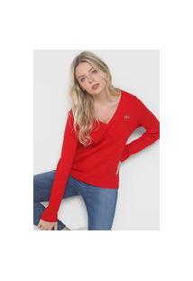 Camiseta Lacoste Canelada Vermelha