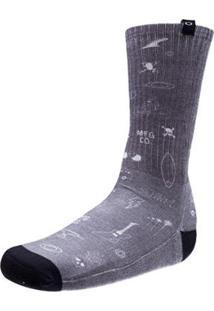 Meia Oakley Keels & Wheels Long Sock Masculina - Masculino-Cinza