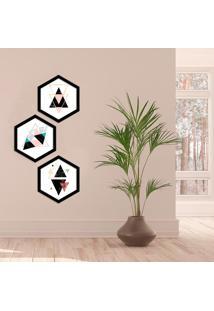 Kit 3 Quadros Com Moldura Hexagonal Escandinavos